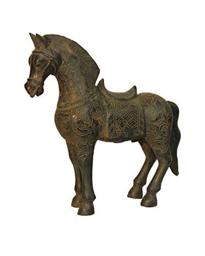 Asian Loft Emperor Horse Statue, Verdigris