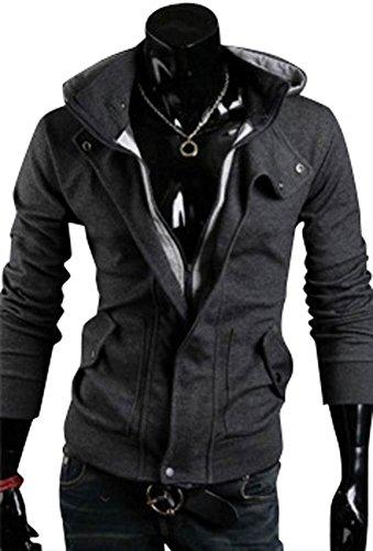 (アルファーフープ) α-HOOP メンズ ジャケット 立て 襟 フード 付き パーカー 大きい サイズ も M ~ XL まで 大きい サイズ も 大人 男 性 用 T10 (4.深灰(Mサイズ))