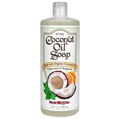 Nutribiotic Pure Coconut Oil Soap, Peppermint and Bergamot, 32 Fluid Ounce