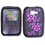 Black Silicone Hot Pink Lilly Design Case / Rubber Soft Sleeve Protector Cover Kyocera Torino S2300 Live My live Wristband