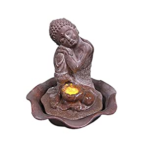 Welland Water Figurine Resting Sitting Buddha Fountain Great for Decor & Gifts