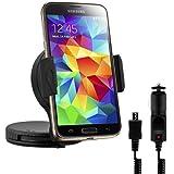 kwmobile KFZ Halterung für Samsung Galaxy S5 / S5 Neo - PKW Auto Halter mit Klebefläche für Armaturenbrett oder Scheibe in Schwarz + Ladegerät