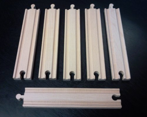 "Set of (6) 8"" Straight Tracks Fit Thomas and Brio Wooden Train and Track Sets"