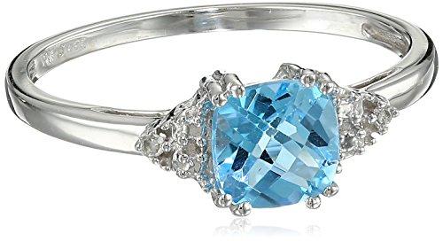 10k White Gold, December Birthstone, Blue Topaz and Diamond Ring, Size 5
