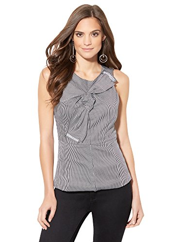 New York & Co. Women's - Origami Bow Shirt - Pinstripe Large Black (New York And Company Tops compare prices)
