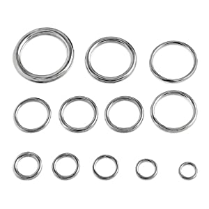 "Round Welded Type 316 Stainless Steel Rings - Select from 12 Sizes - 5/8"" to 2-3/4"""