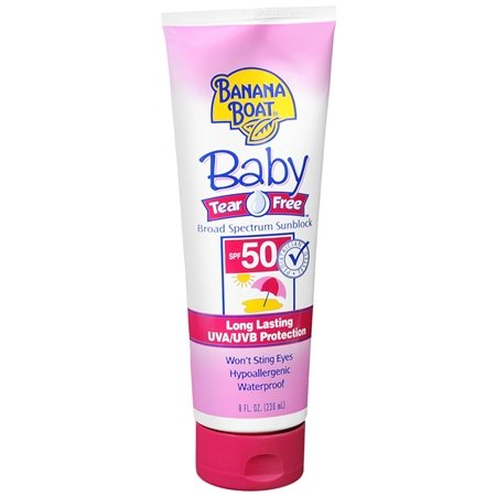 BANANA BOAT BABY TEAR FREE BROAD SPECTRUM SUNBLOCK [SPF 50] LONG LASTING UVA/UVB PROTECTION.