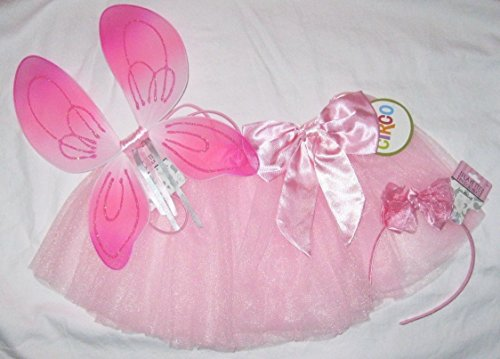 Pink Fairy Angel Costume Toddler Infant 3 Pcs Tutu Wings Satin Headband Halloween