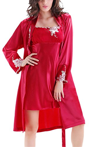 Tortor 1Bacha Women Ladies 2 Piece Silk Like Robe and Nightgown Set Sleepwear