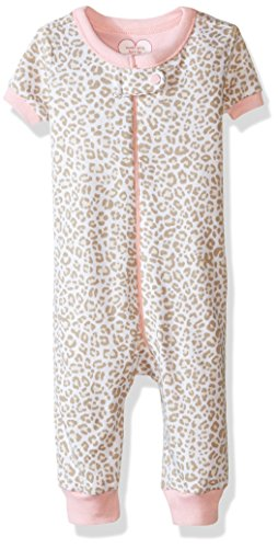 The Childrens Place Girls Leopard Print Stretchie Pajamas, Dune, 0-3 Months