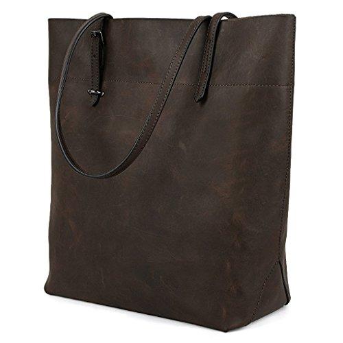 Yaluxe Vintage Stile vero Pelle Borsetta Shopper Borse a tracolla Coffee
