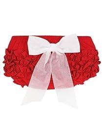RuffleButts Infant / Toddler Girls Ruffled Bloomer w/ Bow - Red w/White Bow - 12-18m
