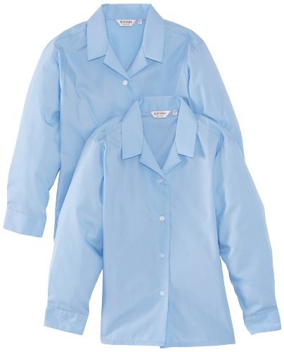 Trutex Limited Girl's Long Sleeve Non-Iron Plain Blouse, Blue, 14 Years (Manufacturer Size: 36
