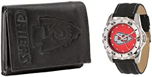 Game Time Mens NFL-WWG-KC Kansas City Chiefs Analog Strap Watch and Wallet Set by Game Time