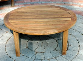 "Amazon.com : 36"" Natural Teak Round Outdoor Patio Wooden ..."