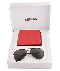 Gansta mens gift set of black lens aviator sunglasses & suede finish red wallet