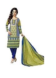 MD Textiles Women Cotton Dress material (KitKet_2002_Blue_Blue_Free Size)