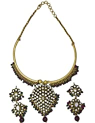 Exotic India Kundan Gold Plated Necklace Set With Faux Ruby And Emerald - Copper Alloy