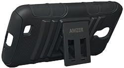 Amzer 95549 Hybrid Kickstand Case - Black for Samsung GALAXY S4 GT-I9500