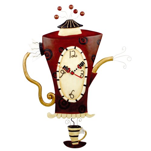 Allen Designs Steamin Tea Pendulum Wall Clock