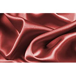 Soft Silky Satin Solid Burgundy Red 4pc Deep Pocket Sheet Set for Queen Bed