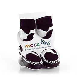 Mocc Ons Baby Infant Slipper Socks 6-12 Months Cow Print