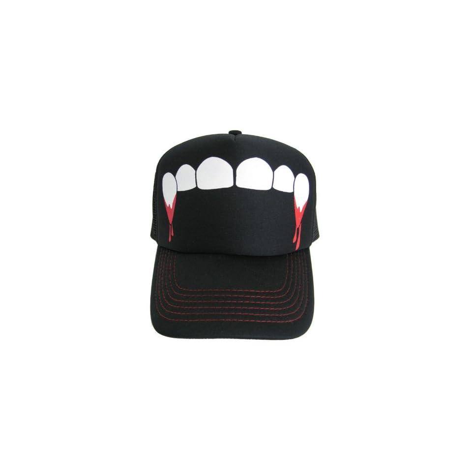 Fangs Teeth Vampire Mesh Hat Baseball Snapback Cap Has Plastic Adjustable Snap Back
