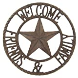 Aunt Chris' Products - Heavy Round Large Cast Iron ~ 'Welcome Friends & Family' Sign - Circle With A Star In The Middle - Old Country Western Design - Indoor or Outdoor Use - Bronze Rustic