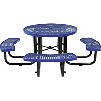 """Global Thermoplastic Coated Expanded Metal Picnic Table - 46"""" Diameter - Blue - Blue"""
