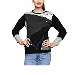 Leebonee Women's Acrylic Full Sleeve Black Sweater
