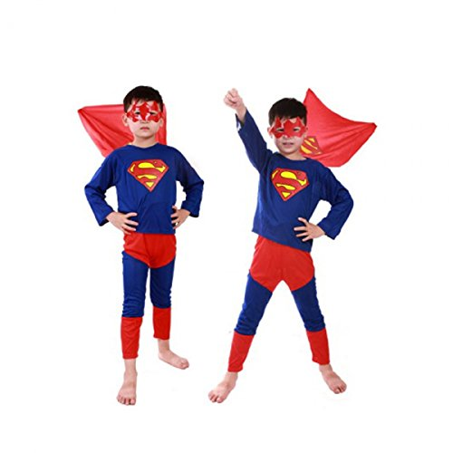 Super Hero Tights & Trousers & Mask Suit for Kid Size M Blue & Red by Preciastore