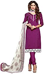 AVC-Colourful Women's Chanderi Unstitched Salwar Suit (1012, Purple)
