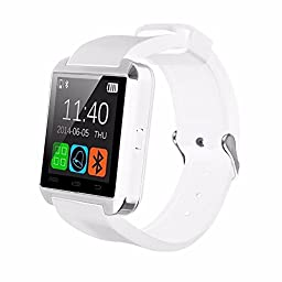 White U8 Upgrade Model Waterproof Bluetooth Wrist Smart Watch Phone Mate Handsfree Call for Smartphone Outdoor Sports Pedometer Stopwatch
