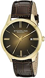 Stuhrling Original Men's 490.3335K31 Classic Cuvette II Swiss Quartz 23k Gold-Plated Case Date Brown Genuine Leather Strap Watch