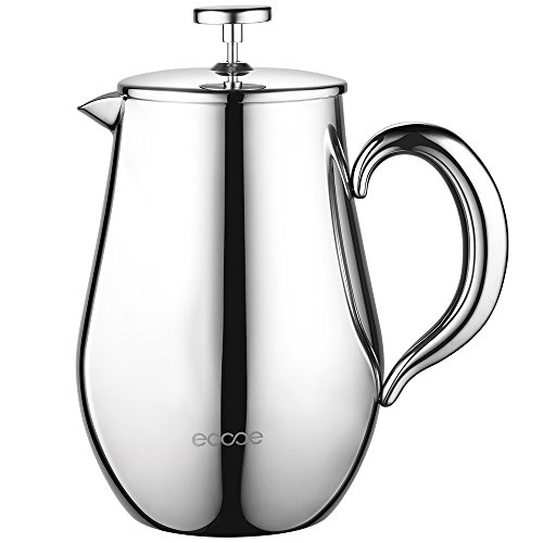 Ecooe Double Wall French Press Coffee Tea Maker Coffee Press Pot With Stainless Steel (1 liter, 34 oz)