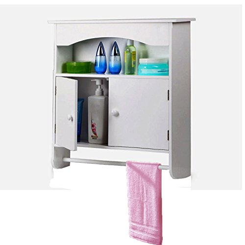 World Pride White Wooden Bathroom Wall Cabinet Toilet Medicine Storage Organiser Cupboard 2 Door with Bar Shelf Unit (Wall Units Antique White compare prices)