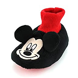Mickey Mouse Baby Toddler Sock Top Slippers (Mickey Black/Red, S (1/2) M US Infant)