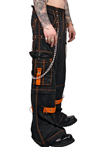 Tripp Gothic Rave Techno Chained Cyber Goth Zipoff Pants Shorts Jeans (L)