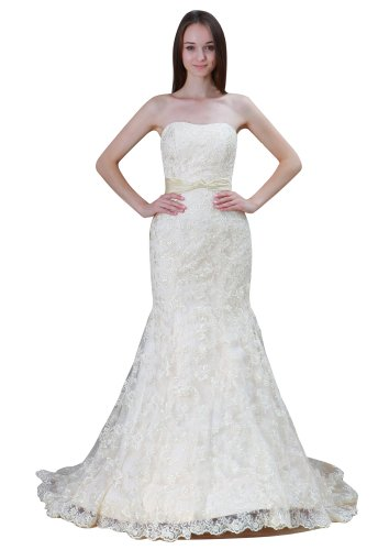 Imprincess Ip4-6030-0 Wedding Dress Vintage Style Dipped Strapless Back Zip Delicate Beading Lace Applique Long Sweep Trumpet Off-White front-1001059