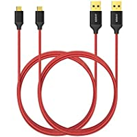 2-Pack AK-B7116091 Anker 6ft / 1.8m Nylon Braided Tangle-Free Micro USB Cable with Gold-Plated Connectors (Red)