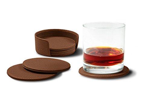 Lucrin - Set de 6 Sous Verres - Cognac - Cuir Grainé