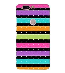 Color Line Dots Pattern 3D Hard Polycarbonate Designer Back Case Cover for Huawei Honor V8