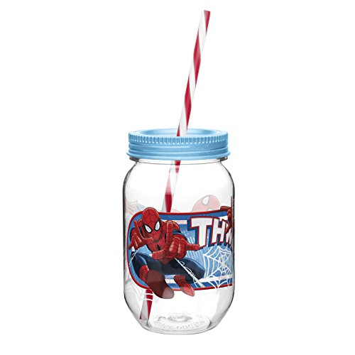Zak Designs Ultimate Spider-Man Canning Jar Tumbler With Straw, 19-Ounce front-1050706