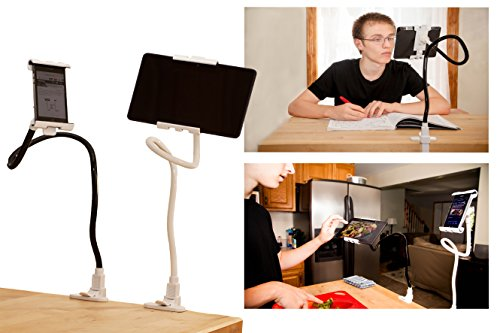 Universal Flexible Gooseneck Long Arm Tablet And Cellphone Stand 360-degree Rotating Clip-on Mount for Ipad Mini, Ipad Air, Samsung Tablet (Black With White Clams)