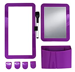 Inkology 8 Piece Magnetic Locker Set, Includes Utility Bin, Dry Erase Board & More, Royal Purple, 239-0