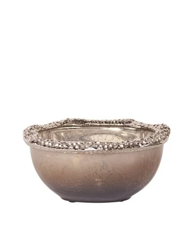 Howard Elliott Matte Nickel Hammered Aluminum Glass Bowl