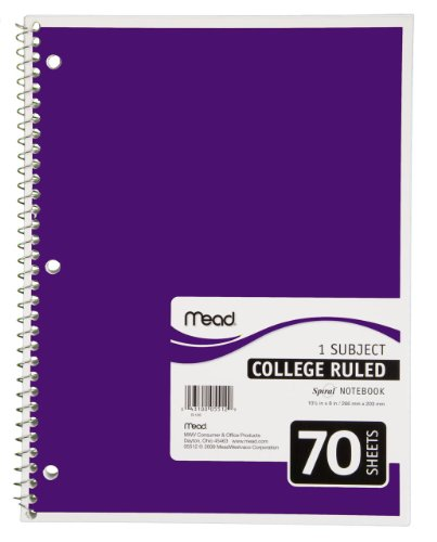 41FvaPVLhNL. SL500  Mead Spiral Notebook, 1 Subject, 70 Count, College Ruled, Purple (05512)