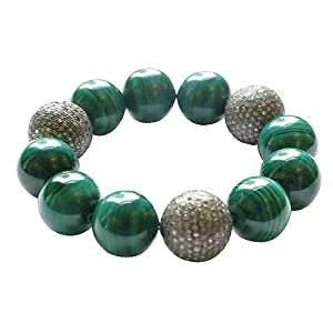 Natural Malachite Gemstone Beaded Cord Bracelet Sterling Silver Party Jewelry