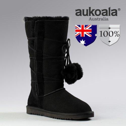 Aukoala Snow Boots Australia Sheepskin Warm Doro Tall For Womens_Black_Us Size 9