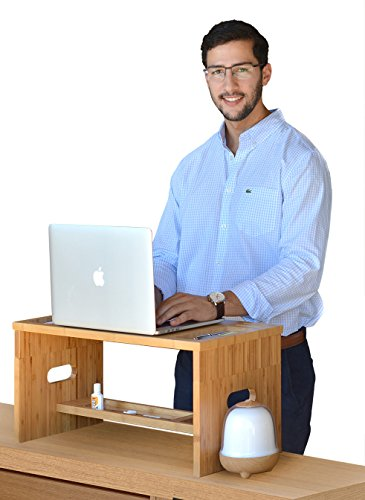 ROYAL CRAFT WOOD Standing Desk for Back Pain Relief, Bamboo Stand Up Desk Organizer with Monitor Stand Riser (Standing Desk Platform compare prices)